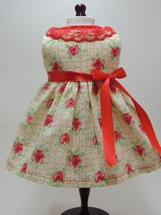"ROSES AND LACE DRESS FITS 18"" AMERICAN GIRL DOLLS #Handmade"