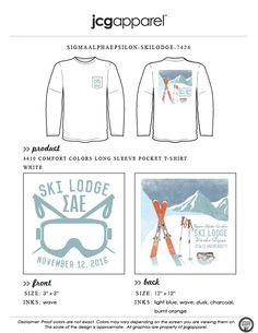 JCG Apparel : Custom Printed Apparel : Sigma Alpha Epsilon Ski Lodge T-Shirt #sigmaalphaepsilon #sae #ski #lodge #skilodge # slopes #goggles #mountain #greek