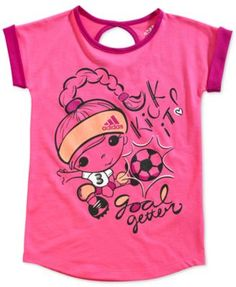 adidas Little Girls' Keyhole Graphic Tee