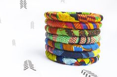 African Wax Block Print Fabric-Wrap Skinny Bangles with multiple pattern options