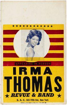 Irma Thomas, New York Poster, Sweet Soul, Auction Items, Deck Design, Soul Music, Concert Posters, Tarot Decks, 1960s