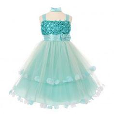 Little Girls Aqua Ribbon Tulle Petals Layered Christmas Flower Girl Dress 2-6