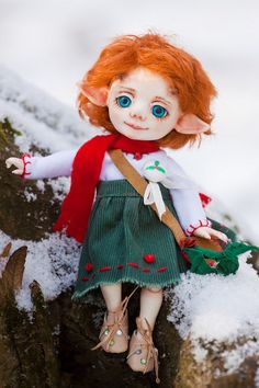 "Resin BJD doll author Faun ""Collette"" 16 cm, Full set, ball jointed doll, fairy tale, Christmas by ARTSvetaDolls on Etsy"