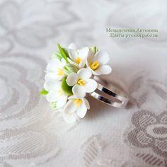 Ring White Lilac Polymer Clay Flowers от SaisonRomantique на Etsy