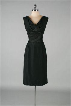 Vintage 1950s Dress PAT SANDLER Black by millstreetvintage
