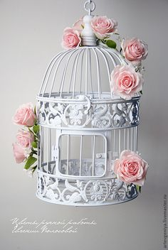 God and Country Living, The bird cage is both a home for the chickens and a decorative tool. You are able to choose anything you need one of the bird cage models and get far more unique images. Shabby Chic Crafts, Shabby Chic Decor, Manualidades Shabby Chic, Bird Cage Centerpiece, Second Wedding Anniversary, Paper Crafts, Diy Crafts, Bird Cages, Clay Flowers