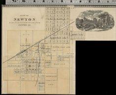 Newton Iowa Street Map Plan Jasper County Authentic 1875 Item | eBay