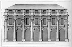 Andrea Palladio: Palazzo del Capitaniato, designed in 1565, partially built between 1571-72, Vicenza, Italy; the main elevation facing Piazza dei Signori and the Basilica, rendered by Ottavio Bertotti Scamozzi, 1776; this is probably how the whole building was meant to be