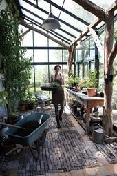 DIY Lean to Greenhouse: Kits on How to Build a Solarium Yourself! - lean to greenhouse with stone floor - Lean To Greenhouse Kits, Best Greenhouse, Backyard Greenhouse, Greenhouse Plans, Greenhouse Wedding, Portable Greenhouse, Large Greenhouse, Greenhouse Growing, Pallet Greenhouse