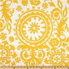 Premier Prints Twill Suzani Corn Yellow.  Wondering if my sewing skills are good enough to make a guest bedroom duvet out of this?