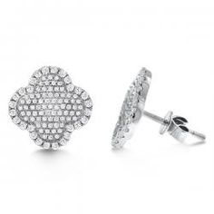 $1,810.00- KC Designs Diamond Large Clover Shaped Earrings in 14k White Gold with 202 Diamonds weighing .84ct tw.