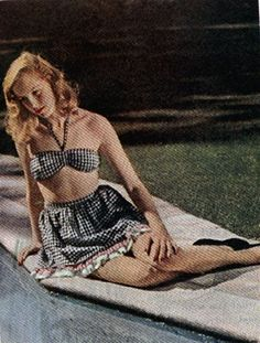 """Gingham two piece """"Novelty prints on cotton and rayon were… Vintage Bathing Suits, Vintage Swimsuits, Two Piece Swimsuits, Vintage Glamour, Vintage Lingerie, 1940s Fashion, Vintage Fashion, Slim Keith, Slinky Toy"""