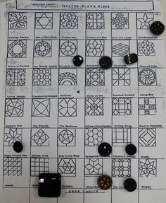 Faceted Black glass button patterns study card.