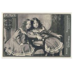 Pretty Little Girls Sisters Twins Cabinet Photo c1906 Sailor Dress Style   eBay