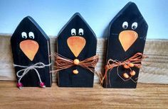 HAND PAINTED PRIMITIVE HALLOWEEN WOOD SET BLACK CROWS SHELF SITTERS BY ZOLA | Art, Paintings | eBay!