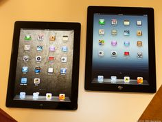View images and photos in CNET's Apple iPad (March 2012, 16GB, Wi-Fi, black) (photos) - The new iPad (right) shown side-by-side with the iPad 2. The benefits of the new display are most immediately apparent on the new model's crisper icon text. via @CNET