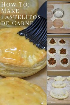 Make these delicious pastelitos de carne at home. Pastelitos de carne are meat filled pastries that are topped with a sweet glaze. They can be found in Cuban cafeterias and restaurants all over Miami and they're amazing! Cuban Desserts, Beef Recipes, Mexican Food Recipes, Cooking Recipes, Boricua Recipes, Comida Boricua, Cuban Dishes, Spanish Dishes, Spanish Food
