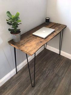 Modern Rustic Industrial Reclaimed Wood Desk with Hairpin Legs Diy Wood Desk, Reclaimed Wood Desk, Rustic Desk, Wooden Desk, Diy Desk, Rustic Industrial, Modern Rustic, Modern Wood Desk, Wood And Metal Desk