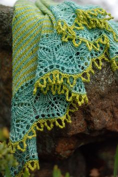 again with those gorgeous colours... Lichen Shawl 2 by throughtheloops, via Flickr -inspiration-