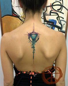 back tatto acuarela