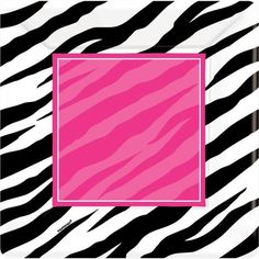 Party on the wild side with our Zebra Party Paper Tableware featuring a black and white zebra print with a hot pink accent square. Coordinating Zebra Party 10in Square Dinner Plates are perfectly sized for light meals and includes 8 paper plates per package measuring 10in square.