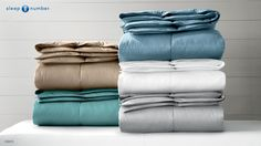 Give allergy sensitive sleepers lightweight warmth that's supremely soft and cozy with the #SleepNumber Ultra-Light Down Alternative Comforters. They come in these gorgeous colors: Sea Blue, Stone, Lake, White and Dove Gray.