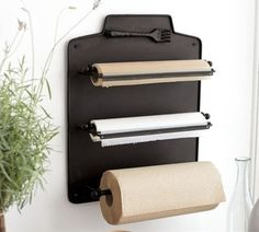 Aluminum foil, wax paper, etc. dispenser... inside the pantry! Great idea!