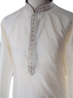 Cream mens Kurta (Long Shirt) and gold churidar set.(Draw stringed tight at ankle Indian trousers)Ideal for Asian weddings , Bollywood Parties or any special occasion.We have sourced this item from one of the best designers of Mens Ethnic Fashio. Indian Men Fashion, Arab Fashion, African Fashion Dresses, Mens Fashion, Kurta Pajama Men, Kurta Men, Fancy Kurta For Men, Man Dress Design, White Wedding Suit