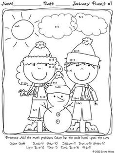 Winter Wonder Math ~ January Math Printables Color By The Code: To Practice Basic Addition and Subtraction Math Facts 1st Grade Math, Kindergarten Math, Teaching Math, Math Addition, Addition And Subtraction, Maths Puzzles, Math Worksheets, Winter Activities, Math Activities