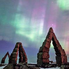 Aurora borealis over the Arctic Henge in #Raufarhöfn #Iceland #HeathrowGatwickCars.com