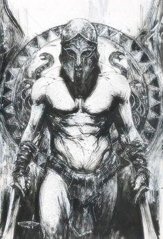 Fan of epic fantasy art! Warrior Tattoos, Viking Tattoos, Spartan Tattoo, Greek Mythology Tattoos, Greek Warrior, Spartan Warrior, Bild Tattoos, Dark Art, Vikings