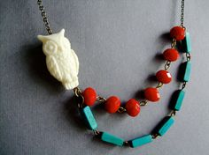 Owl NecklaceOwl JewelryCoral Red NecklaceTurquoise by RachelleD, $32.00