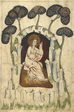 Detail of a miniature of St John sitting in a cave on the island of Patmos, from a German Apocalypse, early 14th century, Add MS 15243, f. 2v