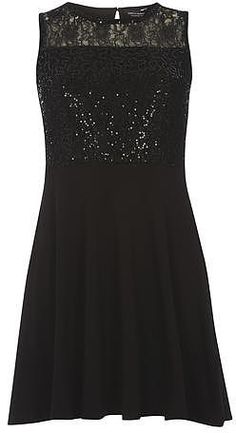 Womens black sequin and lace skater dress from Dorothy Perkins - £22 at ClothingByColour.com
