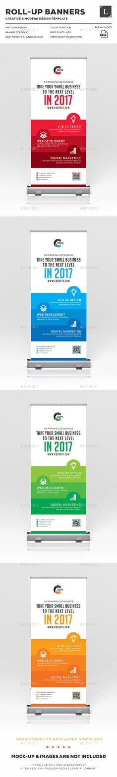 Corporate Business Roll-Up Banner Signage Design Template - Signage ...