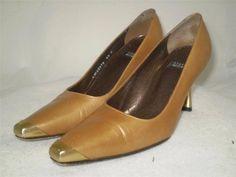 Vintage Stuart Weitzman Pumps 5.5 Gold Leather Gold Metal Heels and Toe Cap #StuartWeitzman #PumpsClassics