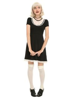 Goth Style Inspiration - Black & Ivory Lace Dress | Hot Topic