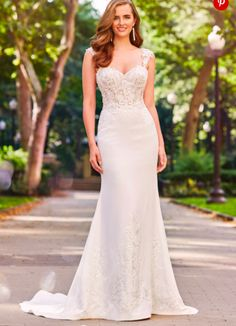 Crepe wedding gown with lace detailed top and sweetheart neckline. Bridal Gowns, Wedding Gowns, Wedding Bells, Mon Cheri Wedding Dresses, Crepe Skirts, Glamour, Beaded Lace, Bridal Boutique, Lace Applique