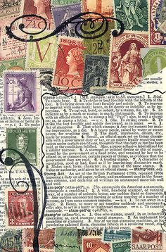 card made from used postage stamps by dumpsterdiversanonymous on flickr http://www.flickr.com/photos/dumpsterdiversanonymous/ #recycled #stamps #paper_crafting #mail_art
