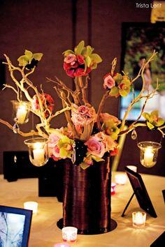 Glamour manzanita branch with hanging candles