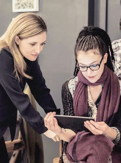Orphan Black, Evelyne Brochu and Tatiana Maslany on set.