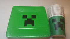 MINECRAFT CREEPER BIRTHDAY PARTY SUPPLIES FOR 10 ~ PAPER CUPS AND PAPER PLATES #Celebrate #BirthdayChild