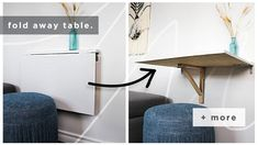 10 Small Space Hacks — The Sorry Girls – Dorm Room İdeas 2020 Fold Away Table, Consoles, The Sorry Girls, Dorm Room Organization, Organizing, Floor Pouf, Small Living Rooms, Space Saving, Interior Architecture