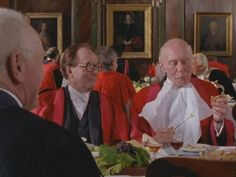 Inspector Morse - S07E03 - Twilight Of The Gods wherein John Gielgud is the Archchancellor of the University of Oxford and Robert Hardy is a billionaire benefactor based on the tycoon Robert Maxwell.