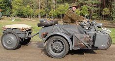 Zündapp KS750 1943 Antrieb über Hinter- und Seitenwagenrad, Gänge: 4 für Straße, 1 für Gelände, 1 rückwärts, Differentialsperre, Anhänger, MG-Halter