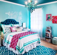 Turquoise Room Ideas - Turquoise it could be strong as well as solid, it's likewise calming and also relaxing.Here are of the most effective turquoise room interior decoration ideas. Cute Girls Bedrooms, Teenage Girl Bedrooms, Big Girl Rooms, Awesome Bedrooms, Bedroom Girls, Tween Girls, Teal Teen Bedrooms, Girls Bedroom Colors, Woman Bedroom