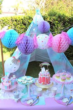 What a stunning Unicorn themed birthday party! Love the dessert table!! See more party ideas and share yours at CatchMyParty.com