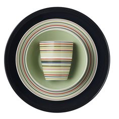 The perfect mix and match piece. Stunning in stripes of mint, salmon, blue, black and white. Pretty Patterns, Green Stripes, Mix N Match, Mint Green, Dinnerware, Tumbler, Salmon, Folk, Ceramics