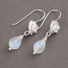 Rainbow Moonstone Earrings Sterling Silver Rose Ear by ZionShore