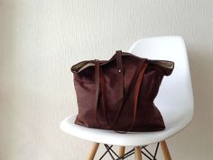 Waxed canvas Bag in Brown - Tote bag leather handles - Large on Etsy, $109.00